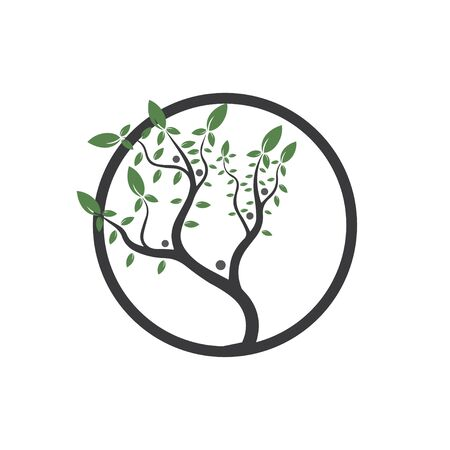 Tree, hand drawn, illustration of  Olive tree  design template Ilustração