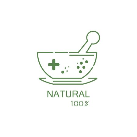 Pharmacy icon, Herbal pharmacy symbol, Pestle and Mortar illustration design template
