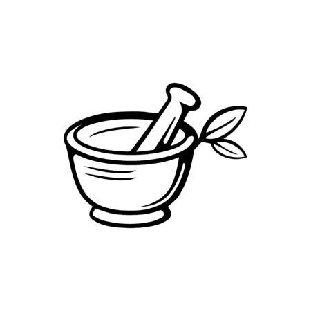 Pharmacy icon , Herbal pharmacy symbol , Pestle and Mortar illustration design template