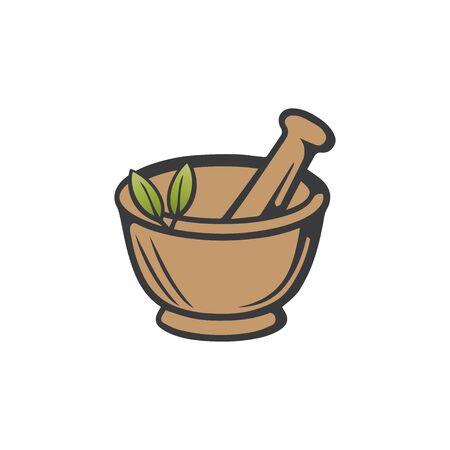 Pharmacy icon , Herbal pharmacy symbol , Pestle and Mortar illustration design template 向量圖像
