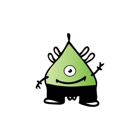 Cute cartoon monster. Vector funny monster character illustration design Ilustração