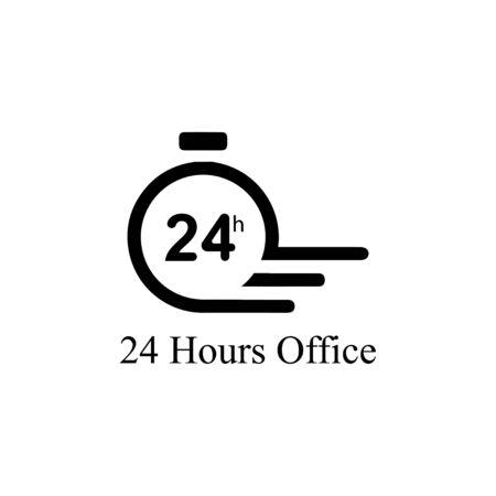 Time icon, 24 Hour icon illustration design template Ilustração