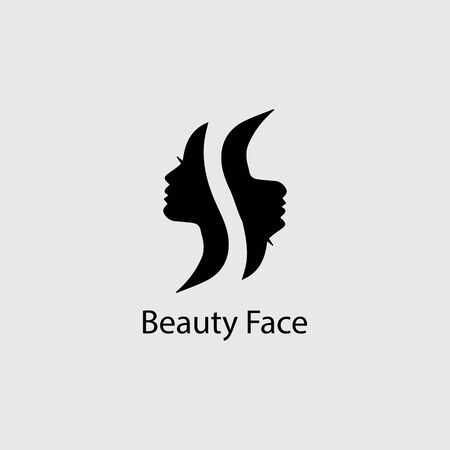 Woman face silhouette character illustration logo icon vector Illustration