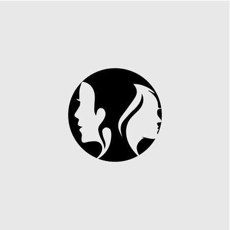 Woman face silhouette character illustration logo icon vector Banque d'images - 147903784