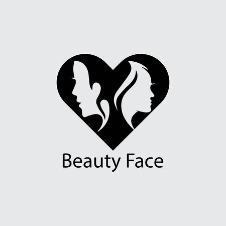 Woman face silhouette character illustration logo icon vector Banque d'images - 147903791