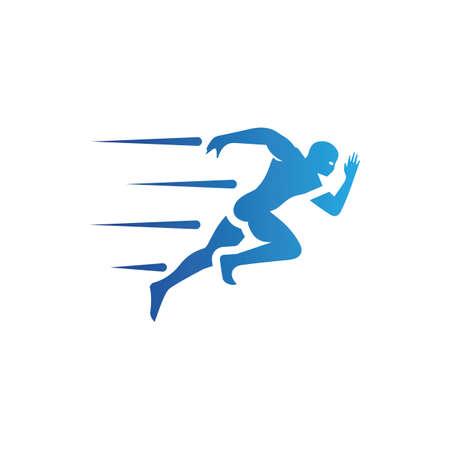 Human character logo sign . Running gesture illustration vector design Logo