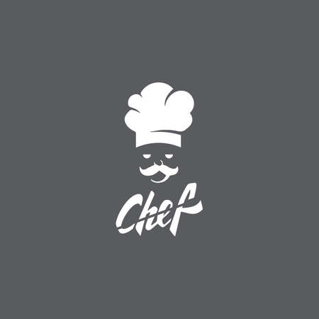 Hat chef logo template and Mustache vector icon illustration
