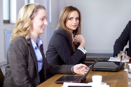 Team of 2 business people working on stheir laptops, sitting at conference table Stock Photo - 11274315