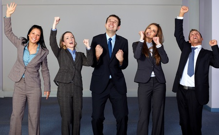 Group of 5 very happy and young business people, office shoot