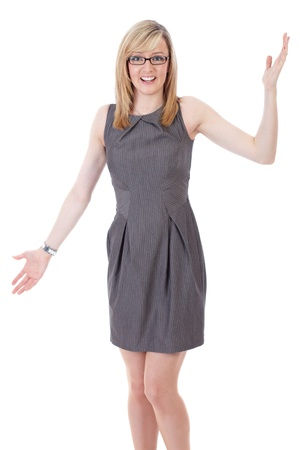 Young attractive businesswoman holds her arms wide open, shoot over white background photo