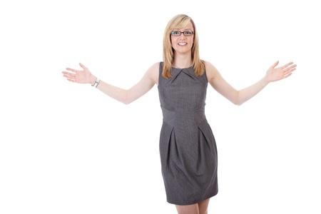 arms wide: Giovane imprenditrice attraente tiene le braccia aperte, gesto di vittoria. Spara su sfondo bianco. Archivio Fotografico