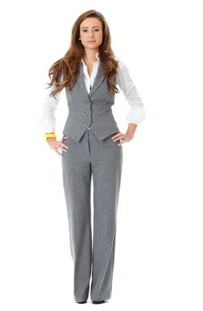 mujer cuerpo completo: Joven mujer de negocios atractivo y seguro, lleno plantean disparar, aislado en blanco