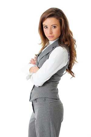 Portrait of young confident attractive businesswoman with crossed arms, isolated on white photo