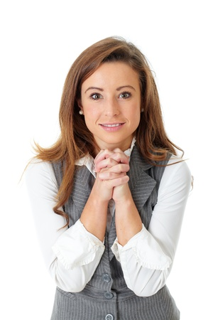believe: Atractivo joven empresaria feliz, gesto de agradecimiento o de los fieles, aislado en blanco