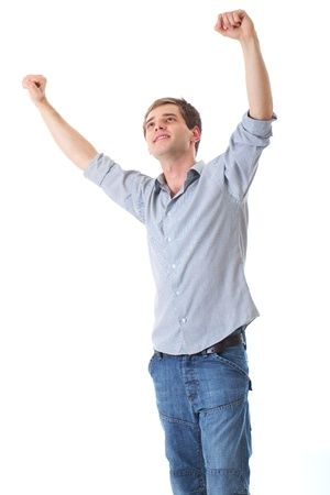 arms raised: happy young male with his arms up in victory gesture, isolated Stock Photo