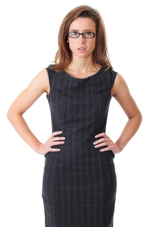 Young disgust and tired businesswoman in black dress over white background photo
