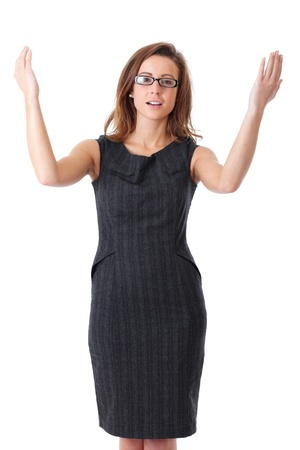 Young happy, attractive and confident business woman with her arms raised up, isolated on white photo