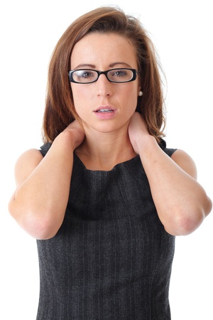 injured woman: Young attractive businesswoman suffer from neck pain, shoot over white background.