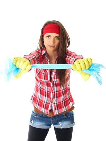 young attractive female cleaner in red shirt and yellow rubber gloves isolated on white background photo