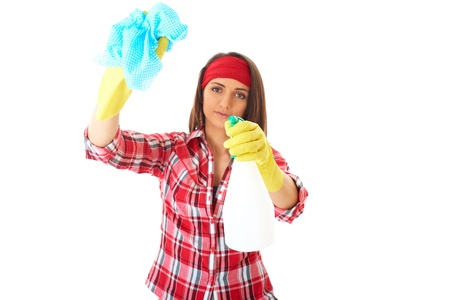young attractive female cleaner in red shirt and yellow rubber gloves, isolated on white background photo