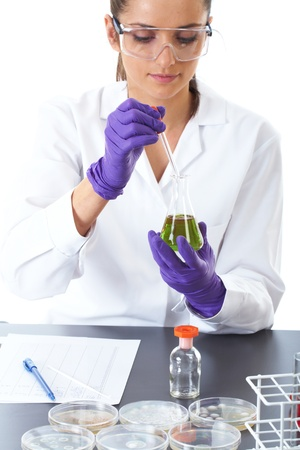 young attractive laboratory assistant makes some lab tests, petri dishes in front of her, while she works on test tube with green liquid, isolated on white photo