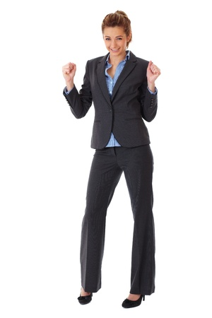ecstatic: happy and ecstatic businesswoman, isolated on white Stock Photo