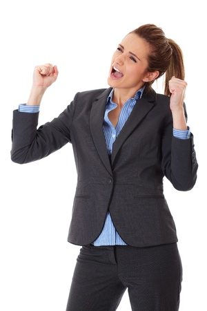 euphoric: happy and ecstatic businesswoman, isolated on white background