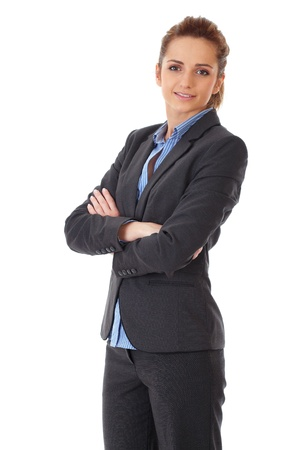 young happy attractive businesswoman with crossed arms, isolated on white background photo