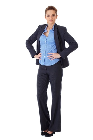business woman standing: Attractive business woman full body shoot over white background
