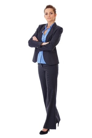 Attractive business woman full body shoot over white background
