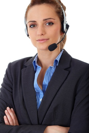 Young customer service operator with headset, isolated on white photo