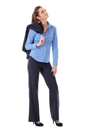 full length woman: Attractive business woman full body shoot over white background