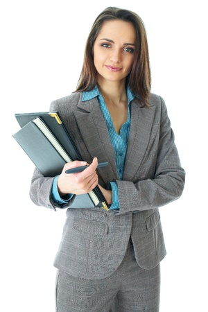 young attractive businneswoman in grey suit and blue shirt, isolated on white background Archivio Fotografico
