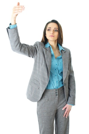 come on: elegant young businesswoma try to call someone or taxi, hand gesture, isolated on white background Stock Photo