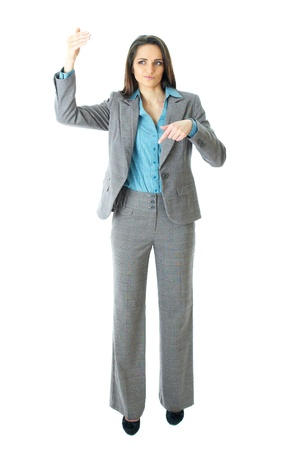 elegant young businesswoma try to call someone or taxi, hand gesture, isolated on white photo