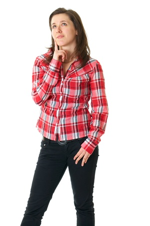 yellow shirt: young female student in red shirt, decision concept, isolated on white