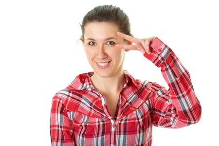 young female shows v gesture in front of her face, isolated on white Stock Photo - 11478000