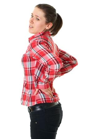 personnes de dos: jeune femme souffre de maux de dos, isol� sur blanc