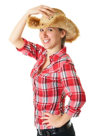 young happy girl in straw hat and red shirt, studio shoot isolated on white photo