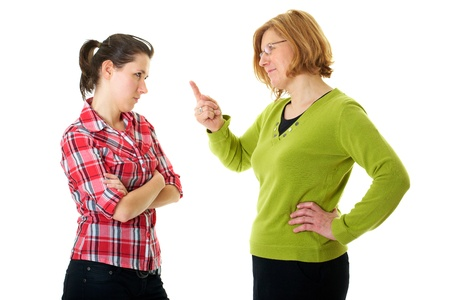 mother warn her daughter for bad behaviour, isolated on white Stock Photo