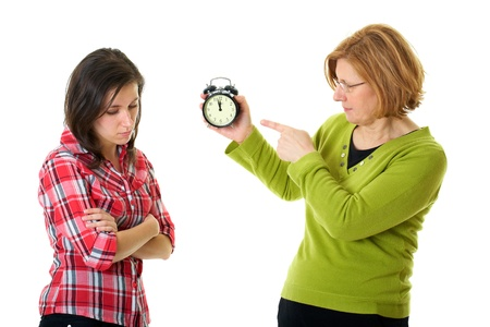 mother warn her daughter for being late, isolated on white photo