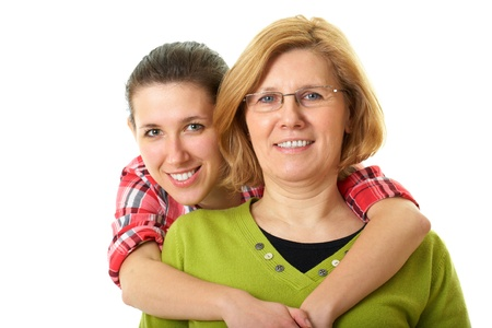 happy and smilling daughter and mother, studio shoot isolated on white