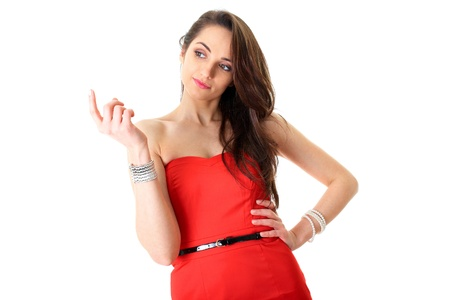 young female in red dress shows Stock Photo - 11477896