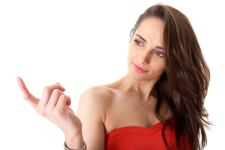 young female in red dress shows  photo