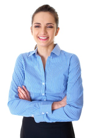 young happy businesswoman in blue shirt, studio shoot isolated on white Stock Photo - 11478068