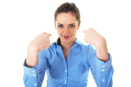 attractive brunette businesswoman point fingers to herself, wears blue shirt, isolated on white Stock Photo - 11477962