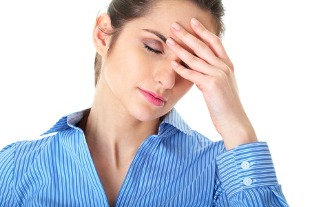 stressed and depressed young atractive businesswoman, suffers from headache, isolated on white