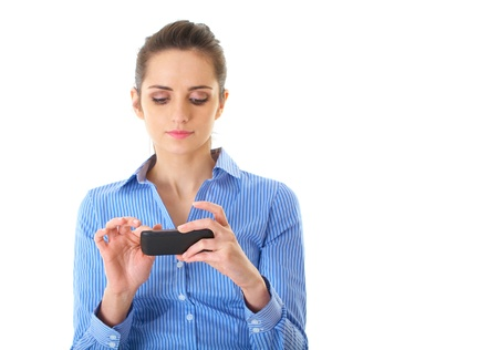 young attractive businesswoman use her smartphone, isolated on white photo