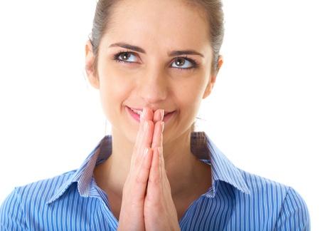 wishful thinking, businesswoman in blue shirt, isolated on white photo