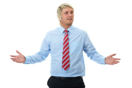 young blonde surprised and shocked businessman, isolated on white photo